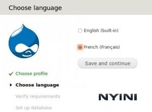 Fenêtre permettant de choisir la langue Français dans Drupal