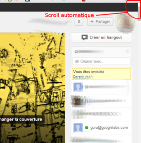 Scroll automatique sur le pages de profil